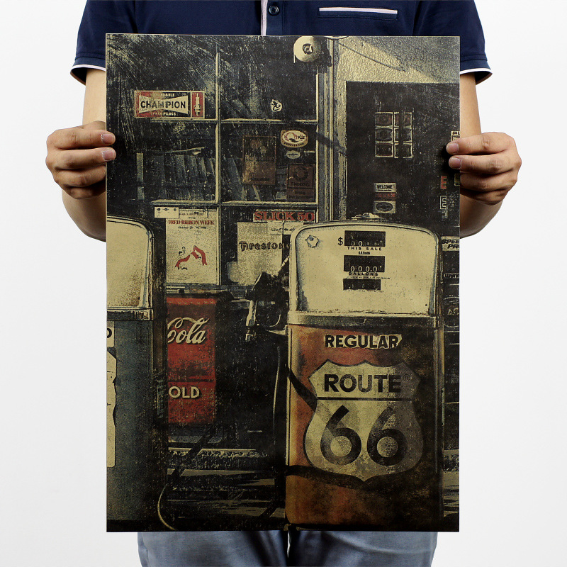 Nostalgia retro Kraft Paper Poster USA Route 66 Car Gas Station Wall Sticker Nostalgic Home Decor Bar Pub Cafe vintage Painting