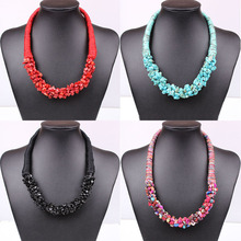 4 Color fashion Bohemian national style Stone choker necklace unique Weave chain Statement necklace jewelry for women 2015