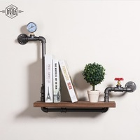 Loft Style Furniture Wall Hanging Iron Pipe Book Shelf Creative Art Display Shelves Bookcase Decorative Bookshelf