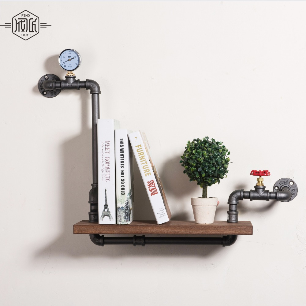Loft Style Furniture <font><b>Wall</b></font> Hanging Iron Pipe Book Shelf Creative Art Display Shelves Bookcase Decorative Bookshelf