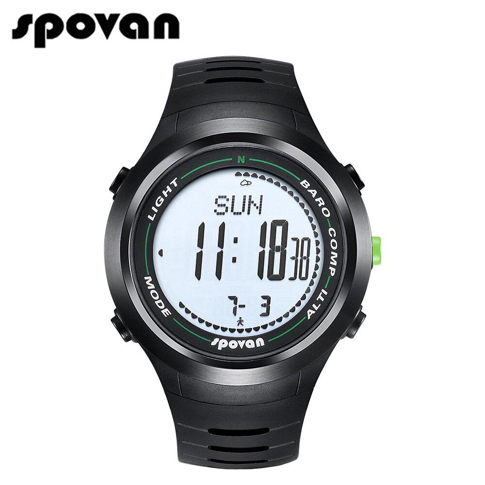 SPOVAN Hommes Sport Montre-Bracelet Montres De Sport, 50 m Étanche LED Rétro-Éclairage/Boussole/3D podomètre/calories Leader2