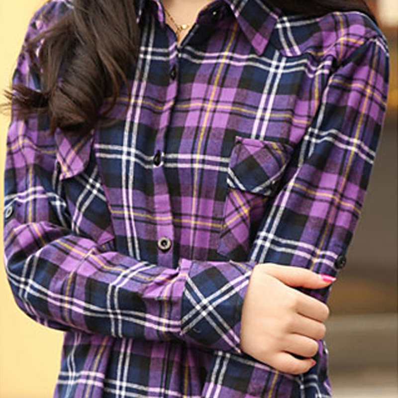 Purple Plaid Shirt Women