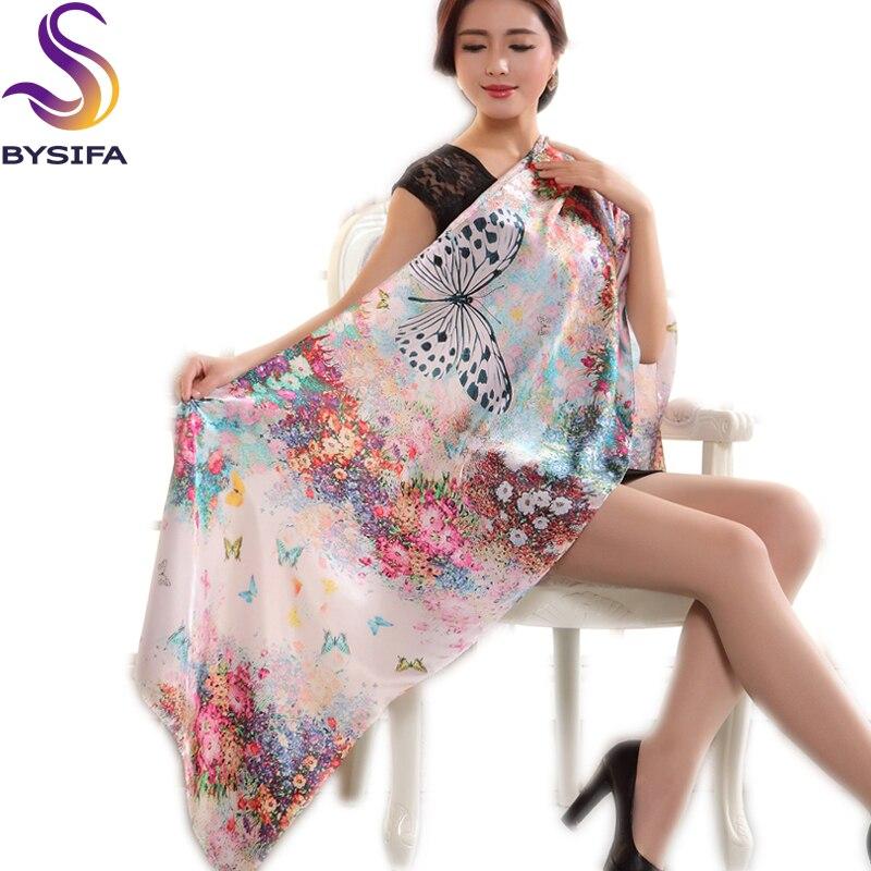 [BYSIFA] Summer Winter Pure Silk Women Long   Scarf     Wraps   Printed Fashion Beige White Butterfly Pattern Mulberry Silk   Scarf   Shawl