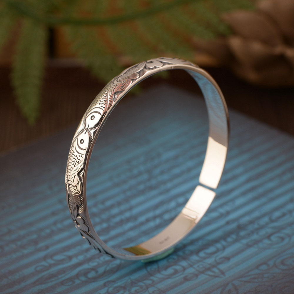 FNJ 925 Silver Fish Bangle Width 8mm Vintage Open Size Diameter 56mm Original S990 Sterling Silver Bangles for Women Jewelry