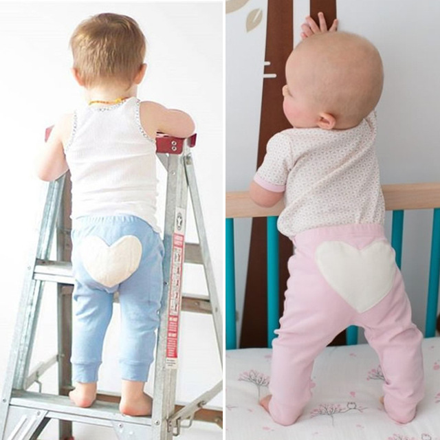 NEW Kids Bottoms Otoño Muchachas de Los Bebés Pantalones de Algodón leggings Pantalones Pantalones Harem Niño Infantil Ropa Parche en forma de Corazón