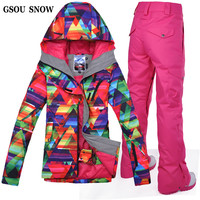 Gsou Snow Skiing or Snowboarding Suit for Women Ski Jacket + Ski Pant Outdoor Breathable Waterproof Outdoor Snow Set