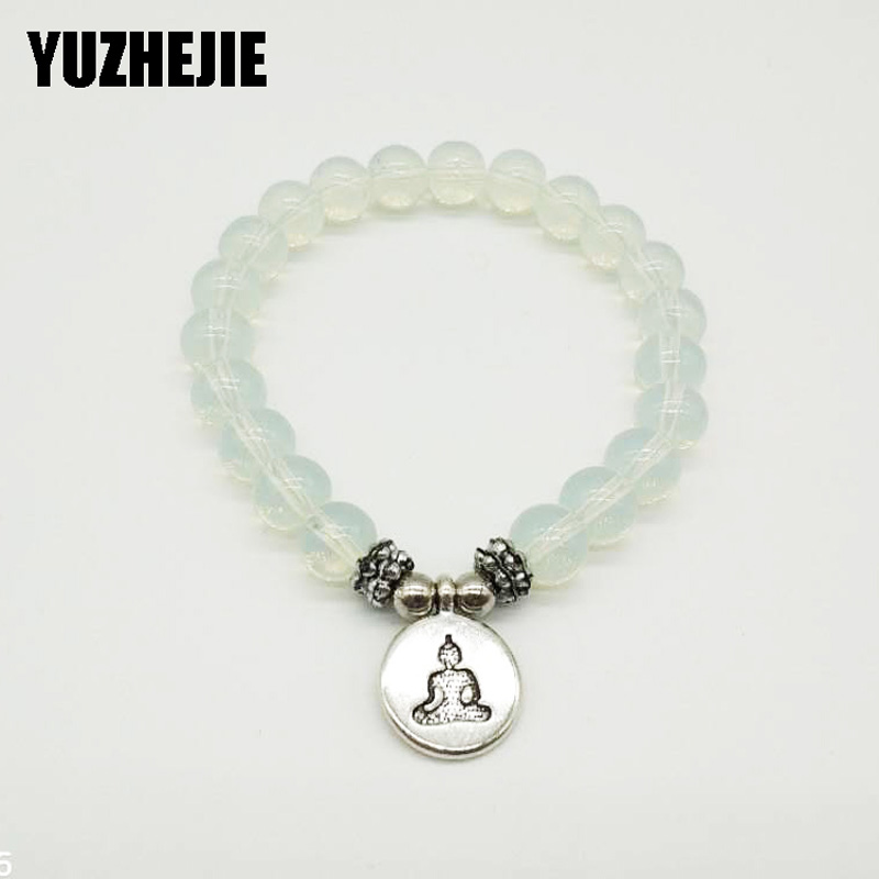 YUZHEJIE 2018 New Design Women`s Mala Bracelet Opal Natural Stone Lotus Charm Necklace Yogi Balance Gift For Her