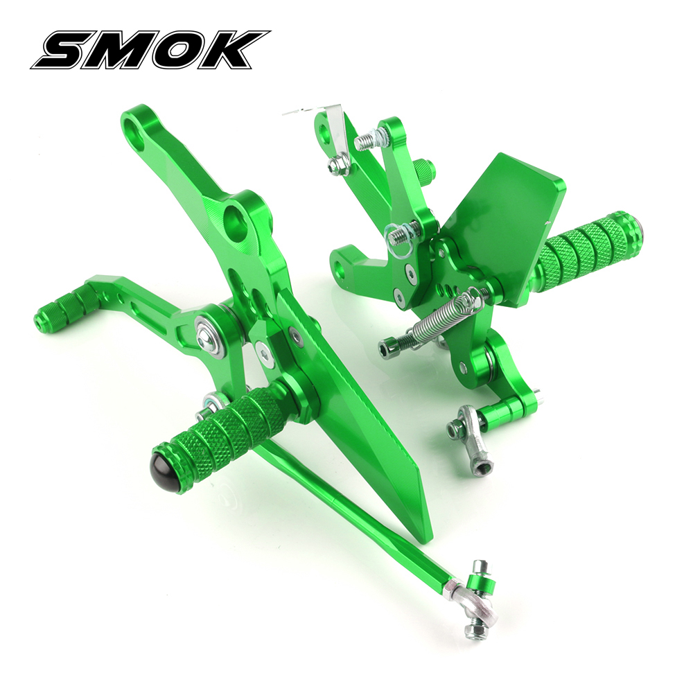 SMOK For Kawasaki Ninja 400 2018 Motorcycle Accessories CNC Aluminum Alloy Rear Sets Rearset Footrest Foot Rest Pegs цены