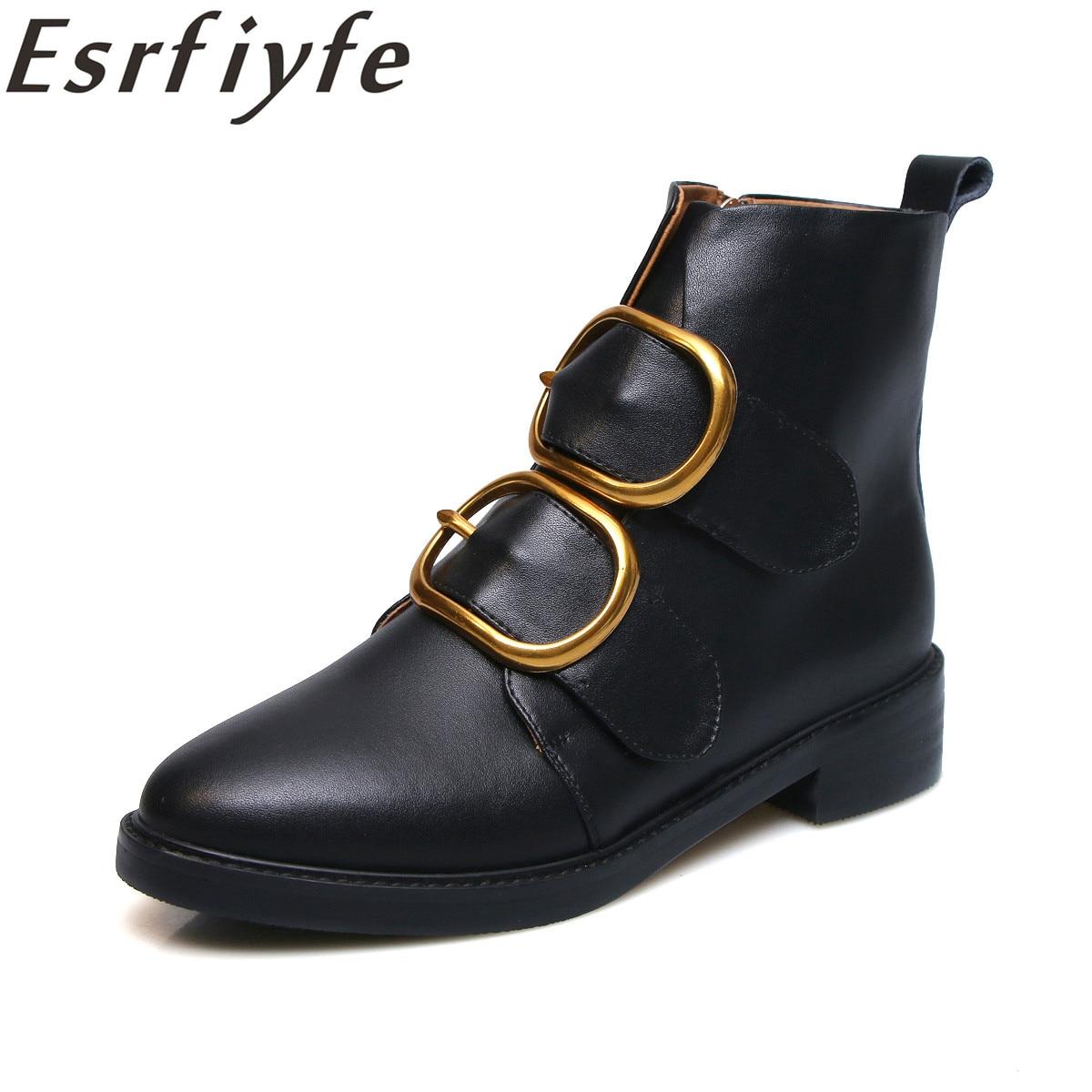 Rond Européen Cheville forme Esrfiyfe Bout Plate Martion Talon Cuir Style Boucle Femmes Noir Nouveau Zip Véritable Bottes 2019 Carré En yvYb7gIf6