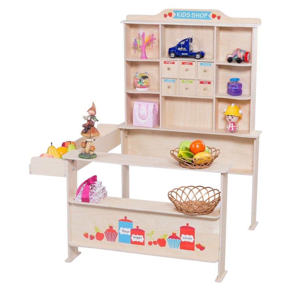 Mercado de juguetes de madera para ninos Juego de platitos infantiles de madera para ninos HW55445 цена