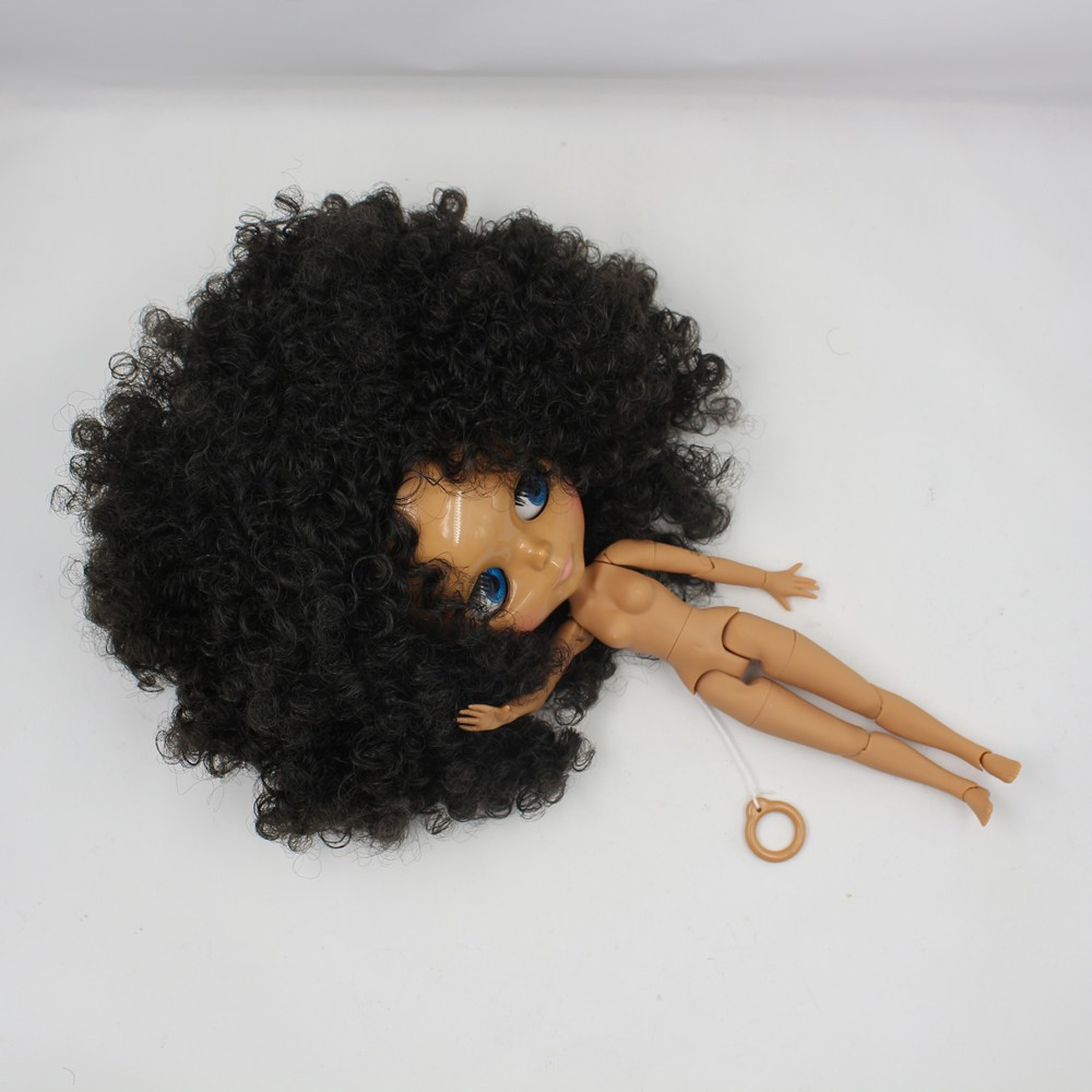 Neo Blythe Doll with Black Hair, Dark Skin, Shiny Face & Jointed Body 6