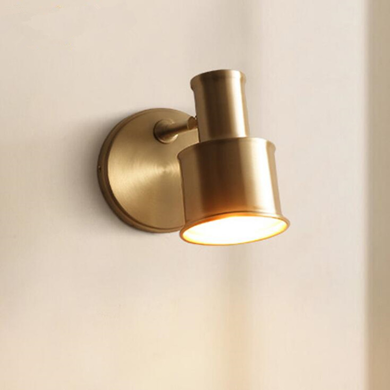 European Bedroom Bedside Indoor Copper LED Wall Lamp Modern Simple Aisle Stairs Household Living Room Decor LED Wall Lights european style simple modern art small round wall lamp living room bedroom aisle study room sconce wall lights led aluminium