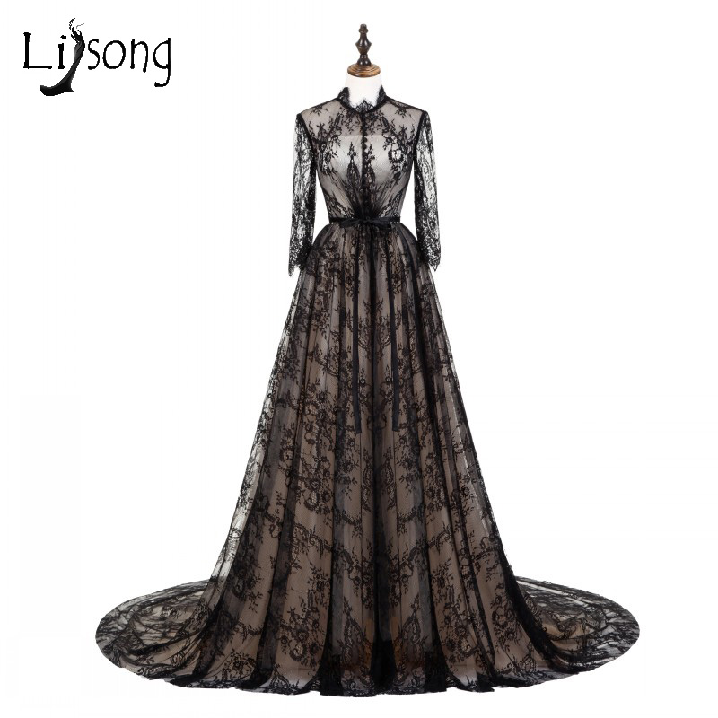 Middle East Black Lace Long Prom Dresses 2018 With Full Sleeves High Collar On Sash Gowns A Line Vintage Formal Dress