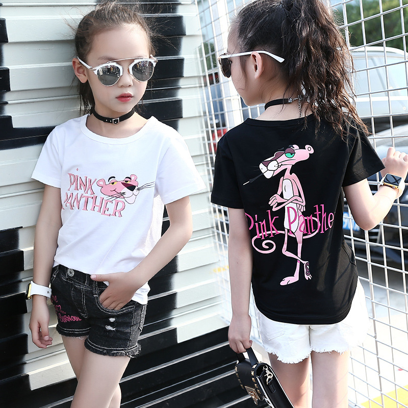 2018 New Style Summer Baby Kids Girls Cute Cartoon T-shirts&Tee Girls White&Black O-Neck Short Sleeve Cotton T-shirt Kids Tops black lace details round neck short sleeves t shirts