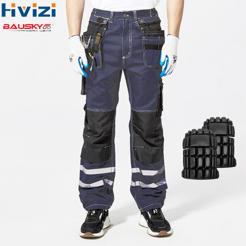 Calças de Algodão De Multi-ferramenta Bolsos Workwear oi Vis Pano de Carga de Trabalho Dos Homens Calças Roupas Masculinas Calças de Segurança Resistente Durável b114