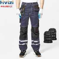 Hi Vis Pants Cotton Multi-tool Pockets Workwear Cargo Cloth Mens Work Safety Clothing Male Trousers Durable Resistant Pants B114