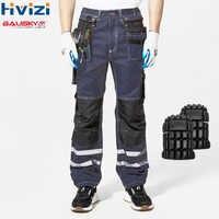 Hallo Vis Hosen Baumwolle Multi-werkzeug Taschen Workwear Cargo Tuch Herren Arbeit Sicherheit Kleidung Männliche Hosen Durable Beständig Hosen b114