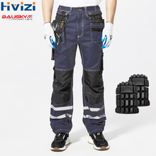 Hi Vis Pants Cotton Multi-tool Pockets Workwear Cargo Cloth Mens Work Safety Clothing Male Trousers Durable Resistant Pants B114 цена и фото