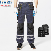 Hi Vis Pants Cotton Multi tool Pockets Workwear Cargo Cloth Mens Work Safety Clothing Male Trousers Durable Resistant Pants B114