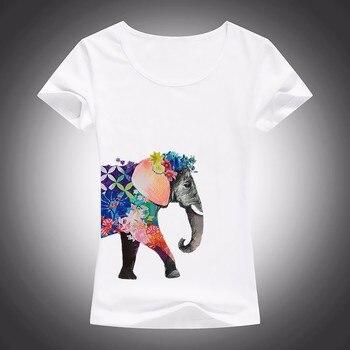 Elefante está cubierto con camiseta con flores mujeres de manga corta o-cuello camiseta suave transpirable chicas camiseta casual