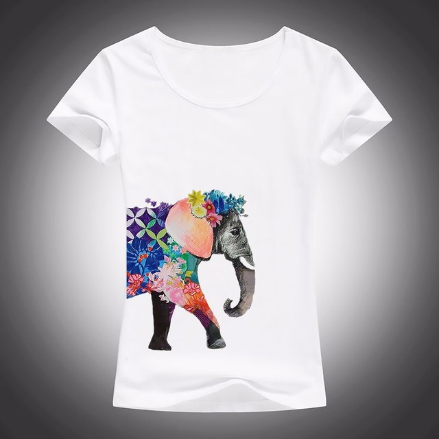 1075fe650f7e elephant is covered with flowers T-Shirt Women Short Sleeve o-neck t shirt  soft Breathable girls casual tshirt