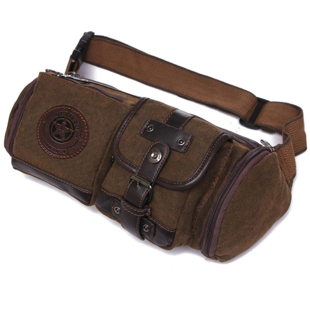 New Men Canvas Casual Travel Riding Motorcycle Hip Bum Belt Sling Chest Pack Waist Bag travel casual sling messenger chest bag high quality men canvas bag pack canvas crossbody sling bag for ipad