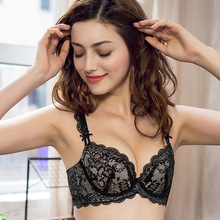 Slim Lady Deep V Sexy Bra Set Lace Underwear Women Breathable Wicking Thin Push UP Small Cup Bras Elegant Simple Luxury Lingerie