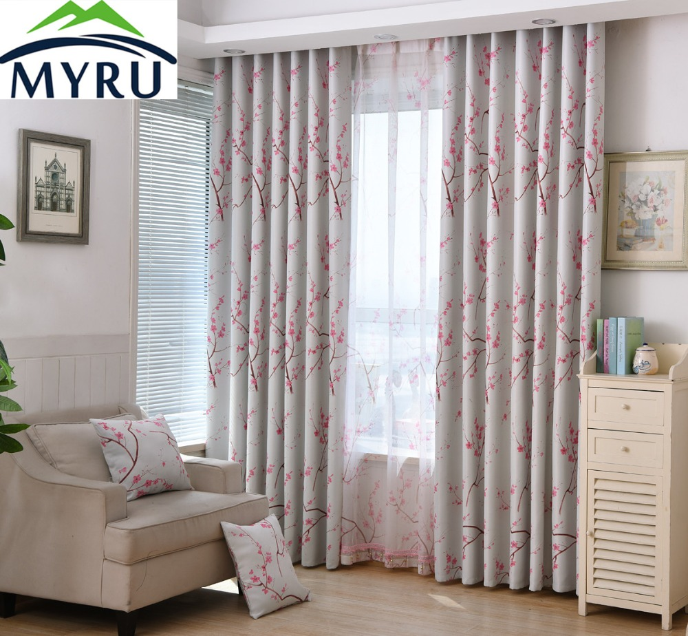 Myru Japanese Village Style Rural Curtains Peach Pink Cherry Blossoms Shade Cloth Curtains For