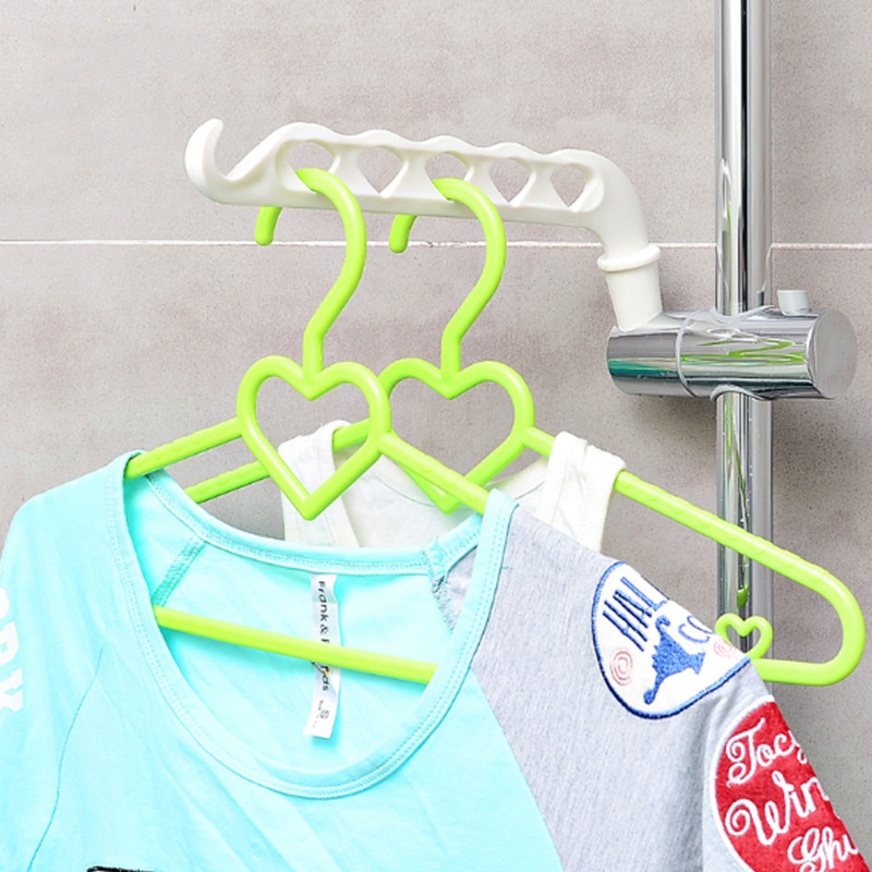Creative Plastic Bathroom Wall Hanging Shower Rack Multi-purpose Rack Shelving Toilet Towel Rack with Hook Maximum Load 6 Pounds