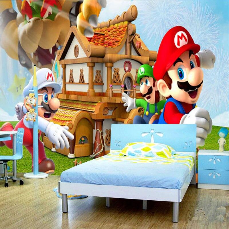 Custom 3d Cartoon Mural Super Mario Bros for Kids Room 3d Wall Photo Mural  TV Sofa. Popular Super Mario Wallpaper Buy Cheap Super Mario Wallpaper lots
