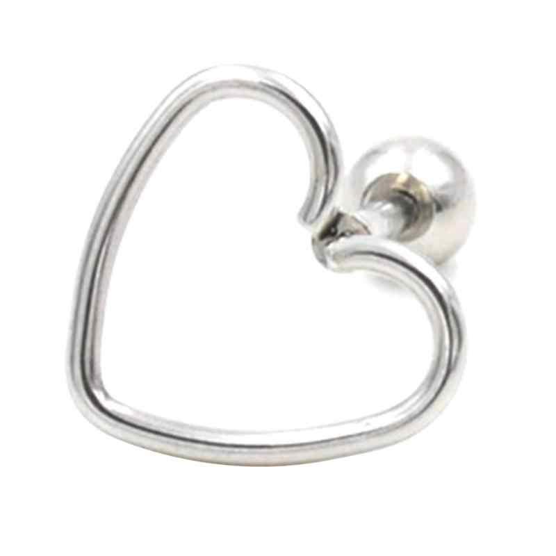 1pc เดี่ยวสแตนเลสสตีล Hypoallergenic Heart Shape ต่างหูสตั๊ดเครื่องประดับหูกระดูกเล็บสำหรับผู้หญิงขายส่งใหม่