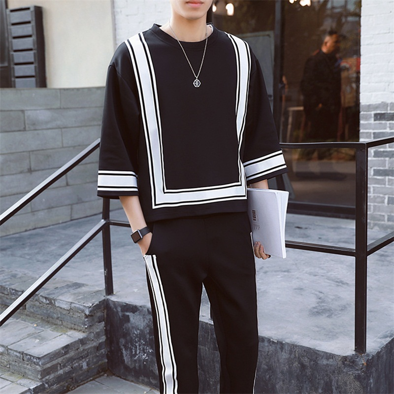 Casual Sporting Suit Men Tracksuit Track Hidden Suspenders Black White Polo Men's Sweat Suits Set Patchwork Hit Color O Neck 3XL