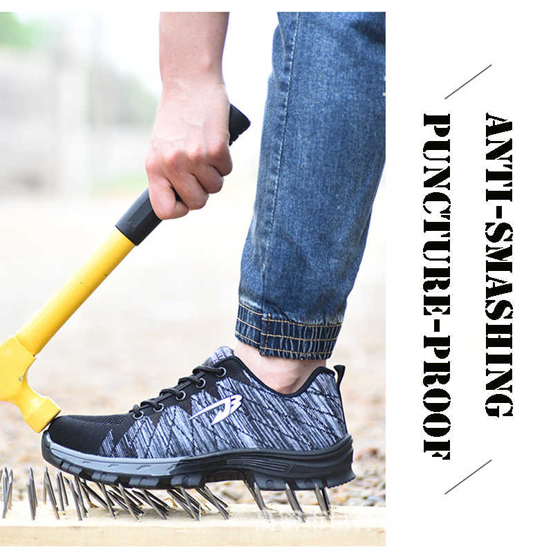 Mode Sommer Frauen Stahl Kappe Punktion-proof Unisex Sicherheit Casual Arbeit Schuhe Outdoor Turnschuhe Atmungsaktive Mesh Stiefel