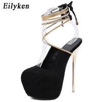 Eilyken Sexy Lace Up Pumps Wedding Women Fetish Shoes Woman Pumps Latform Very High Heel Stripper Flock Club Pumps 17 cm