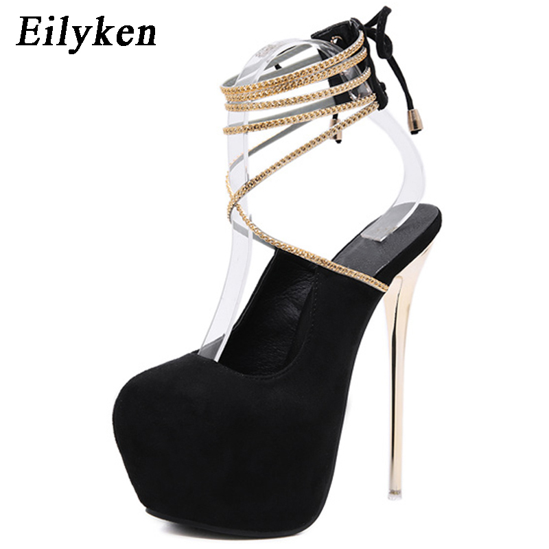 Eilyken Sexy Lace-Up Pumps Wedding Women Fetish Shoes Woman Pumps Latform Very <font><b>High</b></font> <font><b>Heel</b></font> Stripper Flock Club Pumps <font><b>17</b></font> <font><b>cm</b></font> image