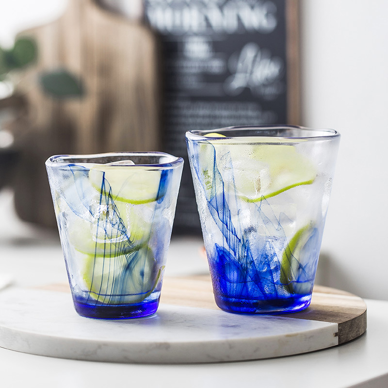 Nordic Crystal cloud tempered glass Cup Whiskey Wine Glass Household heat-resistant Water cup creative blue Oriental ink