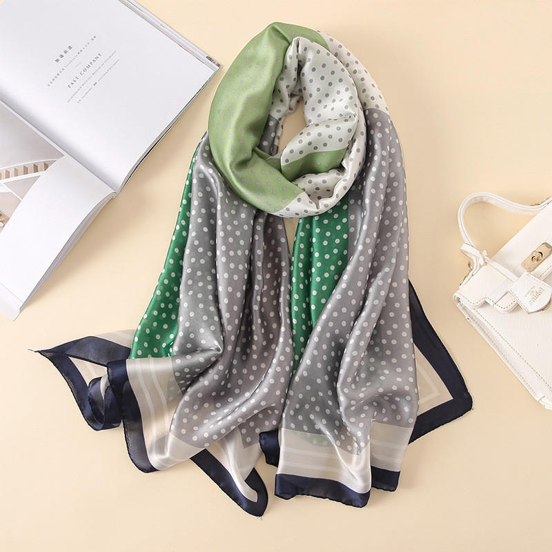 2018 Designer Fashion Scarf Luxury 100% Silk Scarf Women Scarves Shawl High Quality Dots Print hijab wrap 180*90 CM