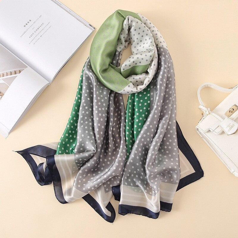 2018 Designer Fashion Scarf Luxury 100% Silk Scarf Women Scarves Shawl High Quality Dots Print hijab wrap 180*90 CM