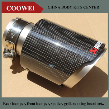 114MM out glossy muffler CAR MODIFIDE MUFFLER pipe Akrapovic Carbon Fiber+Stainless Steel Exhaust Tip bmw f30 akrapovic auspuffblende