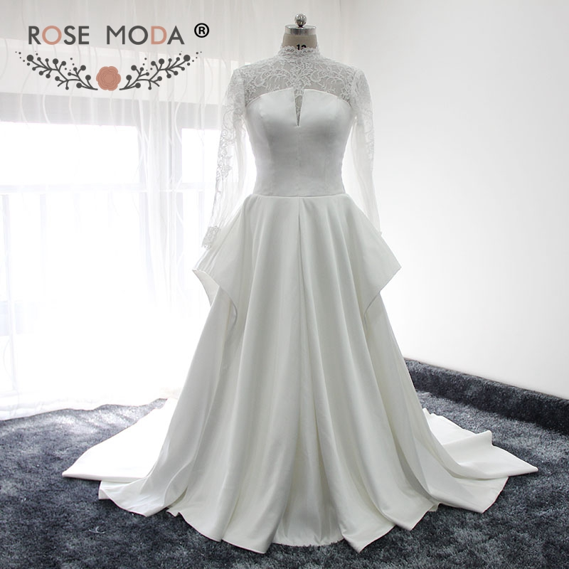 Classic Long Lace Sleeves Wedding Dress High Neck A Line