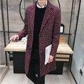 2017 Moda de Médio Longo Casaco de Caxemira Dos Homens Marca-Roupas Turn-down Gola do Casaco de Lã Homens Jaqueta Casaco Quente Casacos dos homens venda