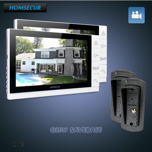 HOMSECUR 9 Wired Video Door Phone Intercom System+Dual-way Intercom 2C2M