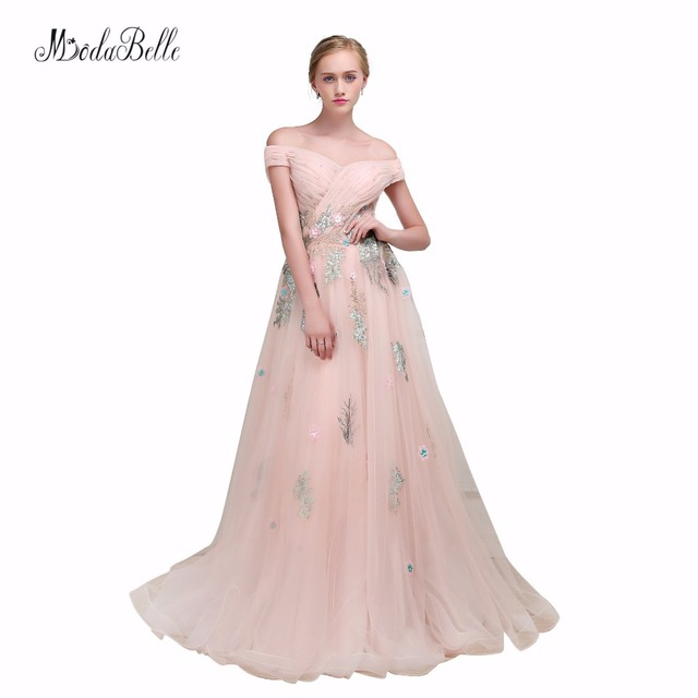 modabelle Blush Pink Prom Dresses 2017 Fairy Off Shoulder Floral ...