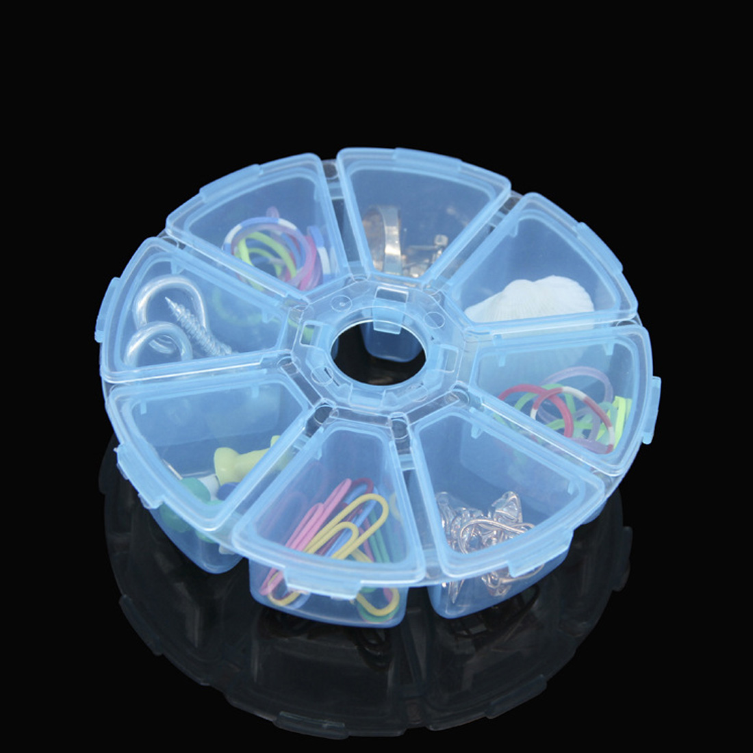 8 Lattices Round Clear Plastic Storage Box Case <font><b>for</b></font> Jewelry <font><b>Beads</b></font> <font><b>Organizer</b></font> Button Container Box <font><b>For</b></font> Jewelry image