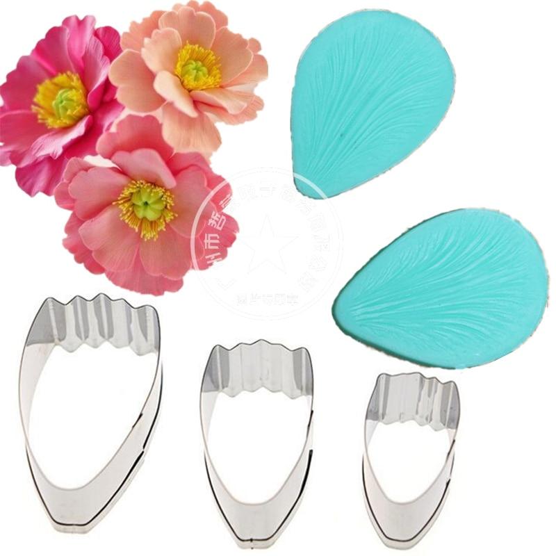 Silikon Embossing Poppy Bunga Kelopak Veiner stainless steel cutter - Dapur, ruang makan, dan bar