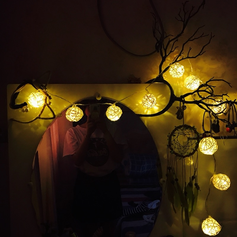 Dcloud 2.2M Rattan Ball LED String Light Warm White Fairy Light Holiday Light For Party Christmas Wedding Decoration