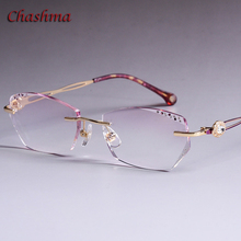 Chashma Brand Colored Lenses Fashion Glasses Frame Women Optical Rimless Alloy Spectacles Female Stones Eyeglasses