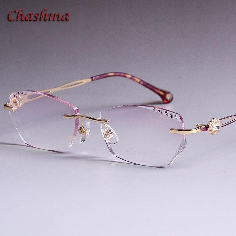 Colored Lenses Fashion Glasses Frame Women Optical Glasses Rimless Alloy Spectacles Female Stones Eyeglasses