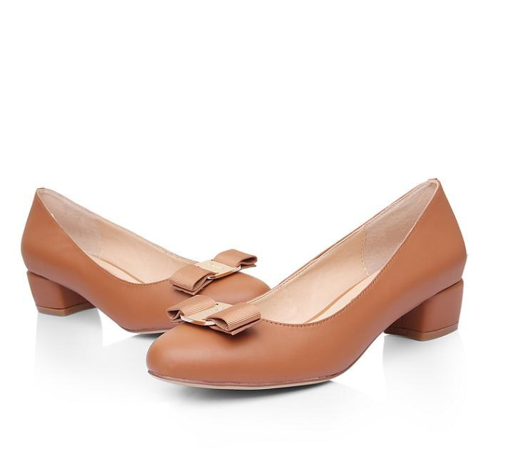 ФОТО women shoes 2016 Genuine Leather Square heel Designer Shoes Woman Brand bow shoes Valentine Shoes sapatos de salto alto. da005