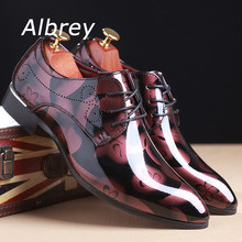 Vintage Design Men's Patent leather Business Dress Shoes Mens Casual Lace-up Flats Plus size 38-48